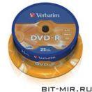 DVD-R диск Verbatim 4.7Gb 16x25cake