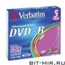 DVD-R диск Verbatim 4.7 16x 5slim